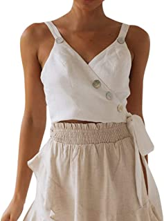 b25d846d5224b Giulot Women s Spaghetti Strap Camisole Backless Button Up Tunic Tank Tops  Blouse Sexy Vest for Women