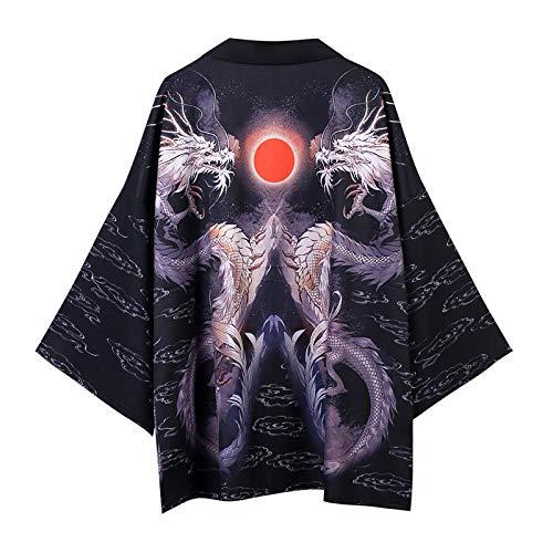 Traje De Cosplay Kimono Yukata Cardigan Hombres Mujeres Japón Kimono Tradicional Camisa Unisex del Estilo Chino del Dragón Masculino Carpa Imprimir Escudo Hyococ (Color 9, Size : M)