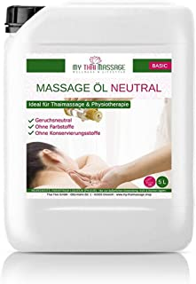 Aceite MyThaiMassage para masaje neutral 5l (5000ml) - Aceite para Fisioterapia de masaje Wellness Spa tailandés, aceite base sin fragancia