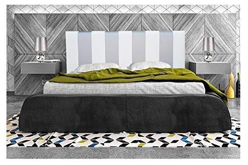 Cabecero de Cama tapizado en Polipiel Mod. CÓRDOBA,Acolchado de Espuma,de niño, Juvenil y Matrimonio,Cabezal de Colgar Altura 70cm (180X70, Gris-Blanco)