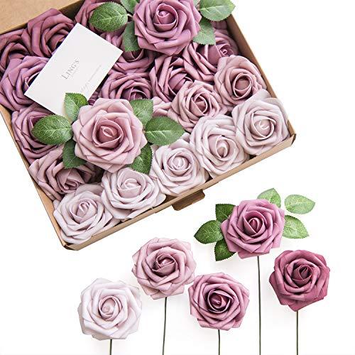 Ling's moment Artificial Flowers Mauve Ombre Colors Foam Rose 5 Tones for DIY Wedding Bouquets Centerpieces Arrangments Decorations