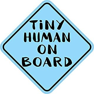StickerTalk Blue Tiny Human on Board Magnet, 6 inches by 6 inches