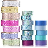19 Rolls Washi Masking Tapes Lace Pattern Bling Glitter Tape DIY Scrapbooking Tape Decorative Craft Tape Sticker Colorful Floral Washi Tape for Scrapbooking Bullet Journal DIY