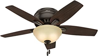 Hunter Indoor Low Profile Ceiling Fan with light and pull chain control - Bowl 42 inch, Premier Bronze, 51081