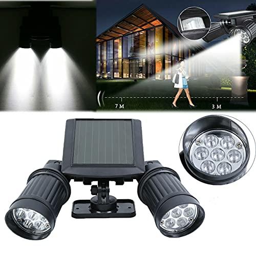 XuanYue Doppel LED Solarleuchte Solar Strahler mit Bewegungsmelder Aussenstrahler Energiesparende Wasserdichte Sensor-Licht fur Garten Deck, Hof, Flur