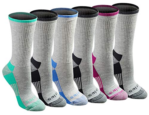 Dickies Women's 6 Pack Dri-Tech Advanced Moisture Wicking Crew Socks,Grey Assorted, Sock Size...