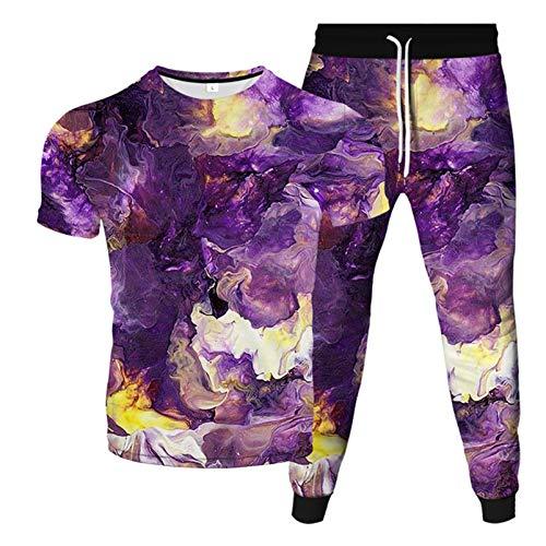 Impresión 3D Color Graffiti Elements Camiseta con Cuello En O + Pantalones Deportivos con Cordones Verano Nuevos Hombre De Dos Piezas Moda Casual Deportes 5 6XL