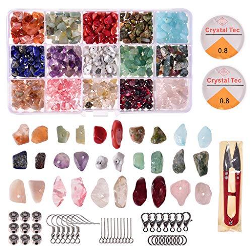 1 juego de cuentas de piedras preciosas irregulares naturales con anillos de salto ganchos para oídos tijeras cierres de langosta para hacer joyas de bricolaje accesorios para hacer joyas de