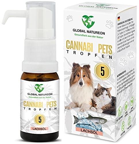 GLOBAL NATUREON® CANNABI Pets ÖL 5 Prozent (10 ml) auf Lachsölbasis für Hunde und Katzen, Tropfen gegen Angst, Stress & für Reise, Naturprodukt für Tiere, ohne Konservierungsstoffe