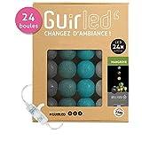 Guirlande lumineuse boules coton LED USB - Veilleuse bébé 2h - Adaptateur secteur double USB 2A inclus - 3 intensités - 24 boules 4m - Mangrove