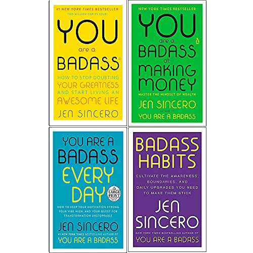 You Are a Badass Series 4 Books Collection Set by Jen Sincero (You Are a Badass, You Are a Badass at Making Money, You Are a Badass Every Day & Badass Habits)