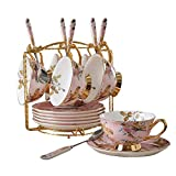 Tea Set 12 Pieces Gold Trim Flower Pattern Afternoon Tea Drinkware Coffee Set For Party And Dinner Coffee And Tea Service With 6 Piece Cups Ceramic Tea Sets