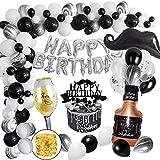 MMTX Globos de Fiesta de Cumpleaños para Adultos Hombres Mujeres, Decoraciones Cumpleaños Estandarte Primeros de la Torta y Cadena de luz LED para 18año 20año 30año 40año 50año Cumpleaños