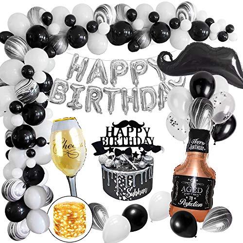 MMTX Geburtstagsdeko, Schwarz Happy Birthday Girlande mit LED Lichterkette Whiskyflasche und Champagnerflasche für Männer Geburtstag 18 21 30 40 50 60