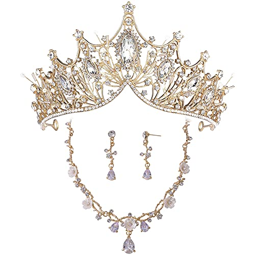 Tiara de boda para novia, corona de cumpleaños de princesa, accesorios para el cabello de boda para mujer, diadema de diamantes de imitación, collar de novia y juego de pendientes dorado