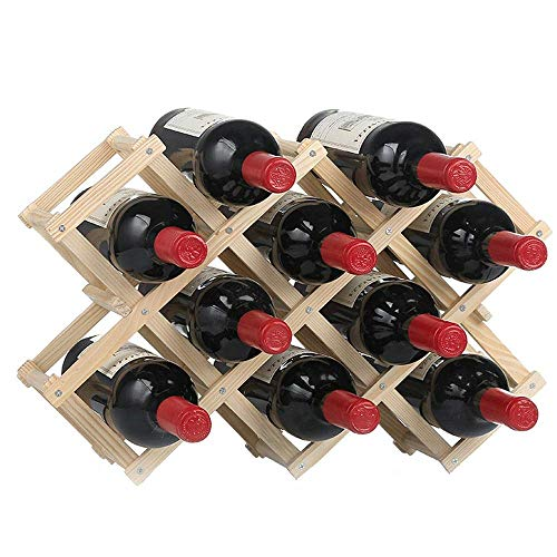 N/Z Home Equipment Wine Rack Wooden Wine Rack Freestanding for Table Bar Or Counter Modern Dry Wines Stackable Storage Wine Rack (Color : Wood Size : 10 Bottles)
