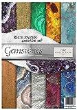 Itd Collection - Papel de Arroz para Decoupage, Set creativo A4 Decoupage Scrapbooking 29.7 x 21 cm Multicolores (Gemstones)