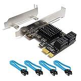 QNINE PCIe SATA Karte 4 Port mit 4 SATA Kabeln, PCI Express SATA Controller Erweiterungskarte, 6 GBS SATA 3.0 PCIe Karte ohne Raid, Boot als Systemfestplatte, Unterstützung für HDD oder SSD