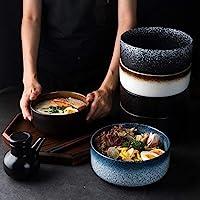 Home Big Wrist Japanese-Style Home Side Soup Bowl Soup Bowl Ceramic Tableware Creative Retro Bowl Breakfast Fruit Salad Bowl Decorative Hotel Retro Soup Bowl (Color : Mocha, Size : 6 inches)