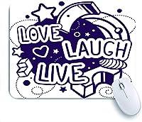 ECOMAOMI 可愛いマウスパッド 黒と白の愛笑いライブ引用 滑り止めゴムバッキングマウスパッドノートブックコンピュータマウスマット