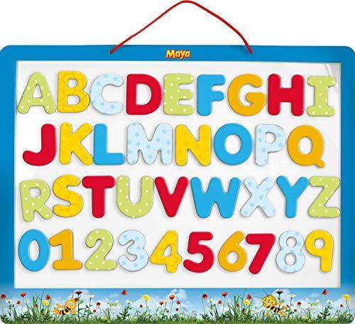 Lena 65821 Biene Maja Magnettafel, Lerntafel mit 26 Magnetbuchstaben und 10 Magnetzahlen, magnetische Motiv, Schultafel mit Allen ABC Buchstaben und Zahlen von 0-9, Tafel ca. 44 cm, ab 3 Jahre, bunt