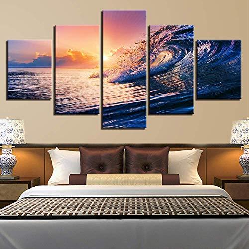 LIBIHUA Leinwand Wandkunst Bilder Hd Drucke Wohnzimmer Dekor 5 Stücke Sonnenuntergang Meer Wellen Seelandschaft Gemälde Rahmen Ozean Strand Poster 150x80cm Rahmen
