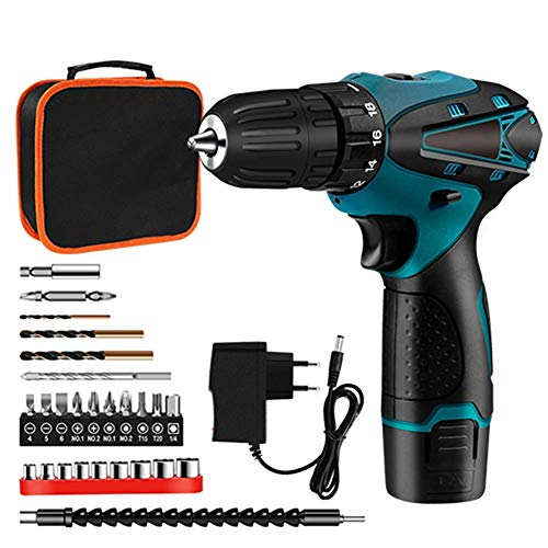 WYJW 12V Brushless Electric Drill Cordless Screwdriver,25 Accessories,with 18+1 Torque Gears,Adjustable 2 Position Handle,Max Torque 35Nm