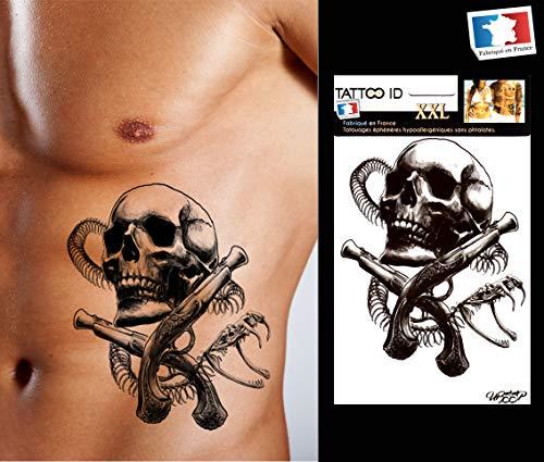 SKULL1 Tattoo, temporär, für Herren, Totenkopf, Schlange, schwarz, Tattoo ID XXL, hypoallergen, hergestellt in Frankreich, 1 Bogen, 22 x 14,5 cm, Herren und Damen
