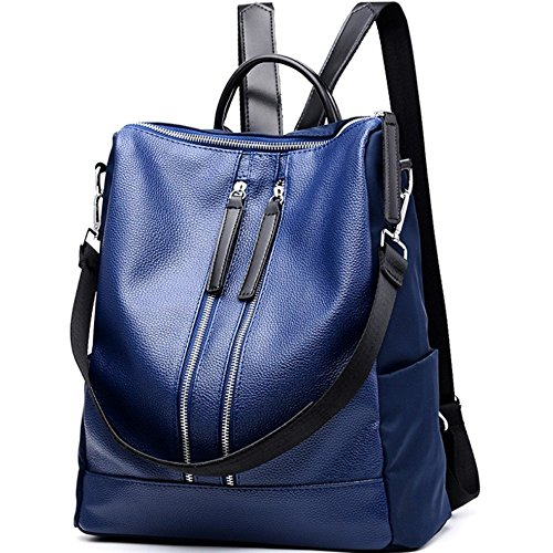 Unisex Classic Fashion Backpack Shoulder Bag For Men and Women Faux Leather(Front) Nylon(Back) Blue