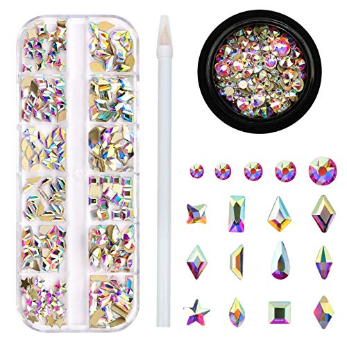 Crystal AB Rhinestones for Nails, 240pcs Multi Shape Flatback Nail Crystal Jewels Iridescent Color with Shiny 16 Cutting Facets Quality Nail Rhinestones for Nails Makeup Clothes Bags Jewelry