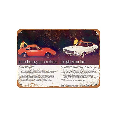 Buick Gs 455 Stage I and Opel Gt Vintage Aluminum Metal Signs Tin Plaques Wall Poster for Garage Man Cave Cafee Bar Pub Club Shop Outdoor Home Decoration 12