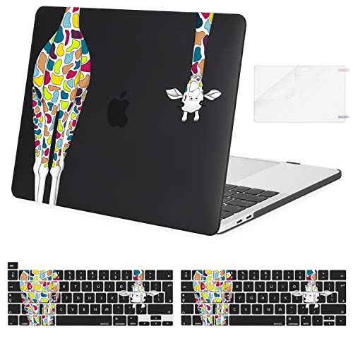 MOSISO Compatible with MacBook Pro 13 inch Case2016-2020 Release A2338 M1 A2289 A2251 A2159 A1989 A1706 A1708, Plastic Giraffe Hard Shell Case&Keyboard Cover Skin&Screen Protector, Black