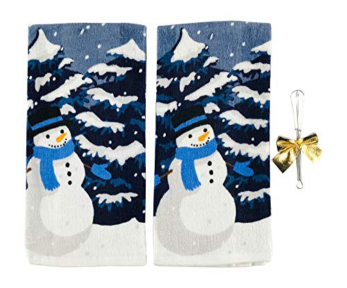 Holiday Christmas Kitchen Towels: Jolly Snowman Enjoying a Winter's Night and Snowy Trees (Snowman Blue)