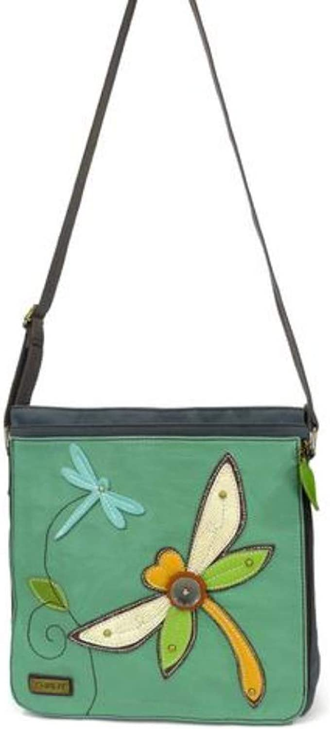 Chala Deluxe Messenger Crossbody Bag Vegan Leather DRAGONFLY, Indigo bluee Green