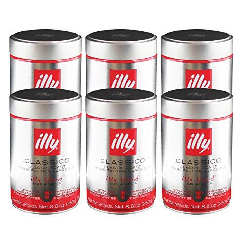 Illy Moka, 100 % Arabica Kaffee, Gemahlener Röstkaffee, Espresso, Normale Röstung, Dose, 6 x 250 g