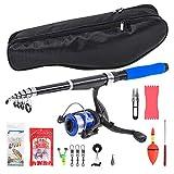 Fishing Rod Kit with Telescopic Fishing Rod and Rotating Reel Fishing Bait 50