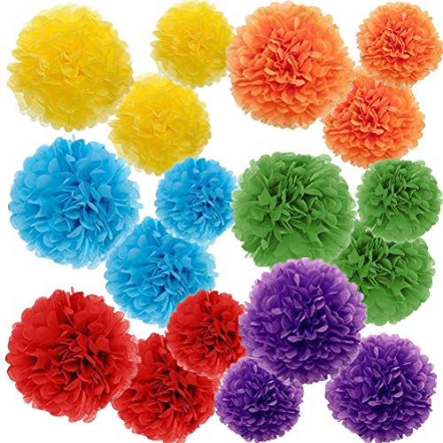 Paper Pom Poms Color Tissue Flowers Birthday Celebration Wedding Party Halloween Christmas Outdoor Decoration,18 pcs of 10 12 14 Inch