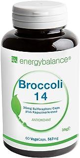 EnergyBalance Broccoli Extract 60 cápsulas de 515mg cada una con 30mg de Sulforaphan | Con Nasturtium | Dosis alta y vegana | Calidad de marca desde Suiza