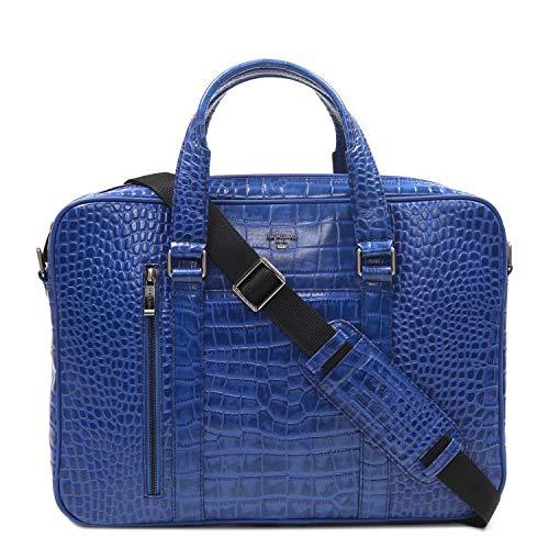 Da Milano CB-2007 Blue Genuine Leather Laptop Bag