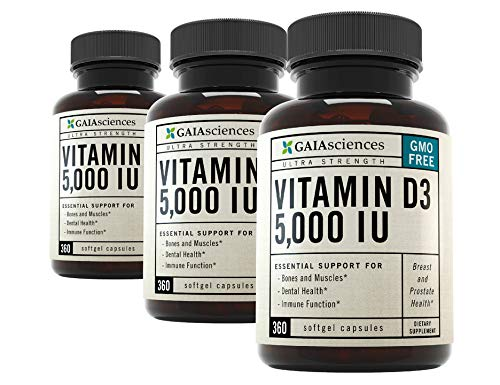 Vitamin D3 Omega 3 Supplement: High Potency Vitamin D3 5000iu, Enhanced Absorption Cold Pressed Organic Olive Oil Omega 3 Vitamin D Raw Prenatal, Healthy Breast Support, Prostate Help Bulk 1080ct 3 PK