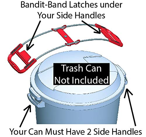 Bandit-Band Latches Under Your Trash Cans Side Handles to Stop Raccoons and Animals. Trash CAN NOT Included