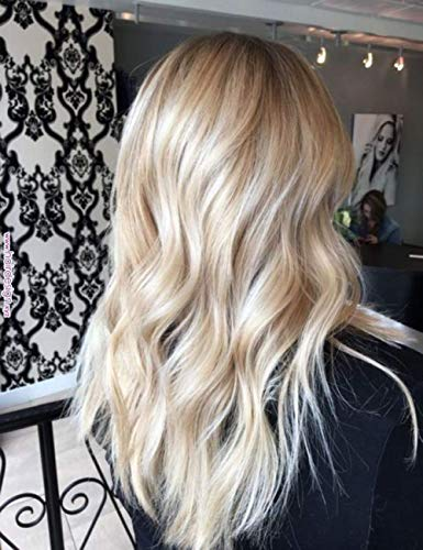 Sunny Halo Human Hair Extensions No Glue Wire Extensions Remy Hair Color #18/613 Ash Blonde Mixed Bleach Blonde Invisible Wire 12 inch 80g/pack