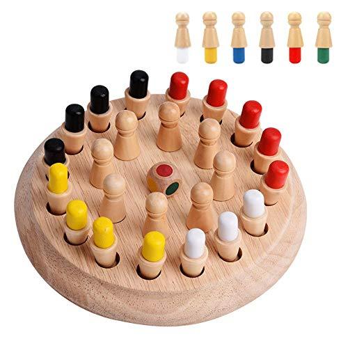 Zetiling Tablero de Juego de Memoria de Madera con 24 Piezas de ajedrez de Madera un Dado, Montessori para Niños Juguete de Madera para Bebé Educativo Aprendizaje Desarrollo de Memoria Niñas