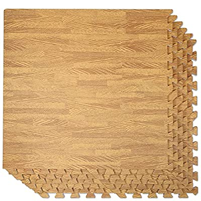 """Clevr 100 Sq. Ft EVA Interlocking Foam Mats Flooring, Light Wood Oak Grain Style - (24"""" x 24"""", 25 pcs)   Includess Tile Borders   1 Year Limited Warranty   Make Perfect Square Space for Trade Shows"""