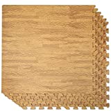 Clevr 100 Sq. Ft 3/8 Inch Thick Interlocking Foam Mats Flooring, Light Wood Oak Grain Style - (24' x 24', 25 pcs), Protective Flooring for Home Office Playroom Basement Trade Show, 1 Year Warranty