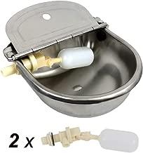Dispensador automático de cuenco de agua potable para vacas HiCamer Acero inoxidable 304 Ganadería agrícola Animales bebederos para cerdos Caballo Ganado Cabra Oveja Perro con 2 válvulas de bola flotante