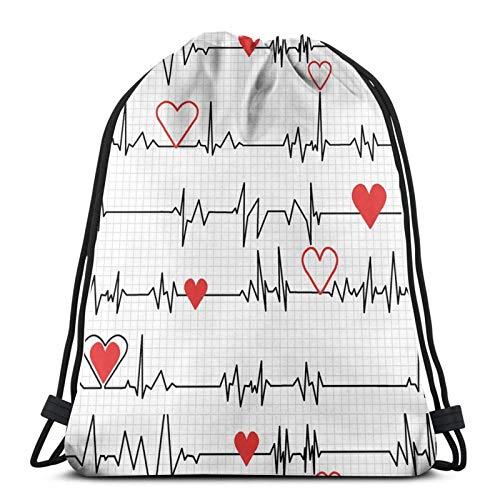 Llamar enfermeras Ekg raya cordón mochila deportes gimnasio bolsa de viaje para niños hombres mujeres