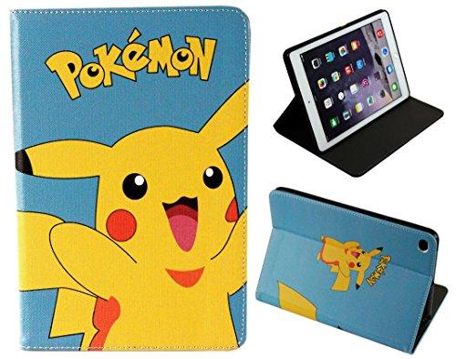 Schutzhülle für Apple iPad Pro 9.7/iPad pro 9.7 2017/iPad Air 1-2, Motiv: Happy Pokemon Go Pikachu, Folio-Hülle mit Standfunktion
