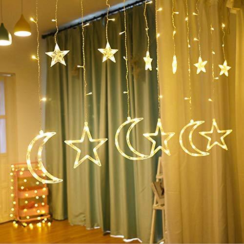 Lixada maan en ster nacht gordijn lichten LED lamp snoer lichtketting vakantie verlichting gordijn lamp bruiloft neon lantaarn