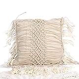 VRockefeller Taie d'oreiller tricoté à la Main bohème tissé à la Main Tassel Oreiller Coton Fil Corde canapé Housse de Coussin décoration de lit